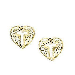 Childrens 14k Yellow Gold Filigree Heart and Cross Earrings: Stud Earrings: Jewelry