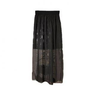 Aubig Women Ladies Double Layer Chiffon Pleated Retro Long Maxi Dress Skirt Black at  Women�s Clothing store