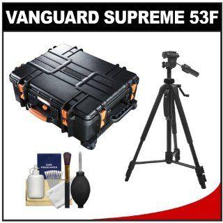 Vanguard Supreme 53F Heavy Duty Waterproof, Airtight & Dustproof Professional Hard Case with Foam Interior & Wheels + Tripod for Canon EOS 7D, 5D Mark II III, 60D, Rebel T3, T3i, Nikon D3100, D3200, D5100, D7000, D800, A35, A55, A57, A65, A77 Digit