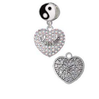 Silver Nurses Rock on AB Crystal Heart Yin Yang Charm Bead Dangle: Delight & Co.: Jewelry