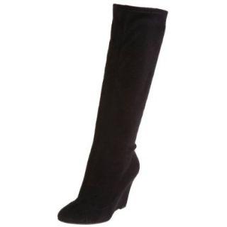 Te Casan by Natalie Portman Women's Pomi Wedge Boot,Black Stretch Faux Suede,39.5 EU (US Women's 9.5 M): Shoes
