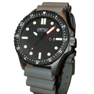 German Military Titanium Watch. GPW Big Date. Red Minute Hand. Grey NATO Rubber Strap. Sapphire Crystal. 200M W/R.: Watches