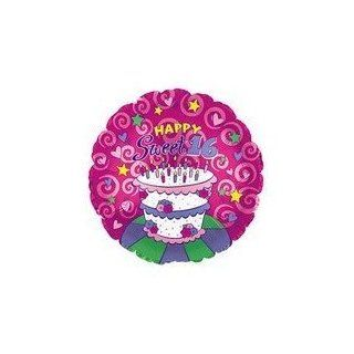 "Sweet 16 Birthday Cake Design ""Happy 16th Birthday"" Balloon 18"" Mylar (Pack of 4)   Childrens Party Balloons"