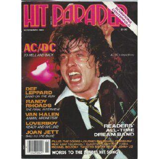 Hit Parader Rock Magazine November 1983 AC/DC Randy Rhoads Last Interview Van Halen Loverboy Scorpions Def Leppard Doors U2 Twisted Sister Joan Jett (Hit Parader Magazine) Hit Parader Rock Magazine Books