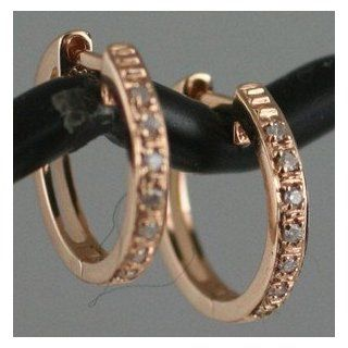 "14K Solid Pink Rose Gold 15mm (0.60"")x2mm Huggies Hoop Diamond Earrings 2.10g: Jewelry"