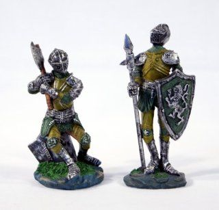 """Hand Painted Medieval Battle Knight Suit of Armor Cold Cast Resin Figurine Statue 3.5"""" (Set of 2)   Head Sculptures"""