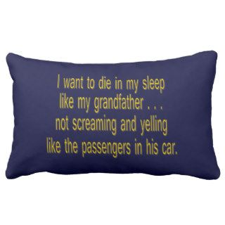 I Want To Die Like Grandpa   Funny Sayings Pillow
