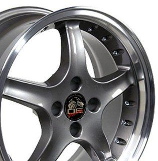 Cobra R 4 Lug Deep Dish Style Wheels with Rivets and Machined Lip Fits Mustang (R)   Anthracite 17x8 Set of 4 Automotive