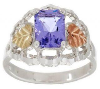Black Hills Emerald Cut Helenite Leaf Sterling Ring, 12K —