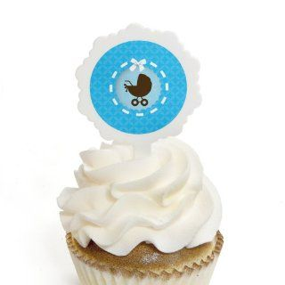 Boy Baby Carriage   12 Cupcake Picks & 24 Stickers Decorative Cake Toppers Kitchen & Dining