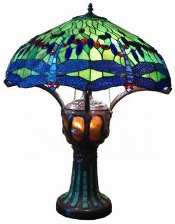 Green Handmade Dragonfly Tiffany Style Stained Glass Table Lamp Lamps with Lit Base TLL012 3 Bulbs   Small Stained Glass Table Lamps