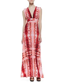 Womens Venus Tie Back Stripe Print Maxi Dress, Red   Veronica M