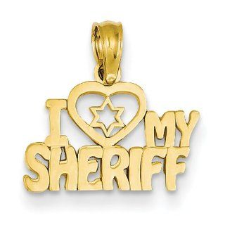 14K Yellow Gold I Love My Sheriff Polished Pendant 16mmx15mm: Jewelry