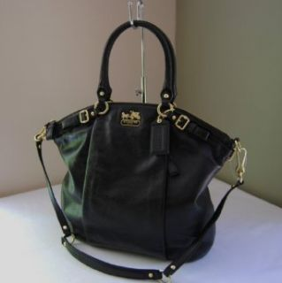 Coach Madison Black Leather Lindsey Convertible Shoulder Bag Tote 18641 Clothing