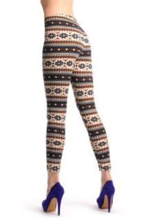 Beige, Black & Brown Aztec Jacquard Knit Print   Leggings at  Women�s Clothing store