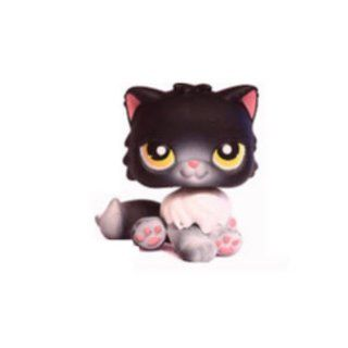Persian Cat Kitten Kitty # 435 (black with yellow eyes and pink nose)   Littlest Pet Shop Replacement Figure Loose Retired LPS Collector Toy (Out Of Package/OOP)