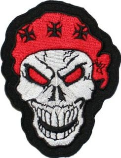 Red Eye Skull Iron Cross Embroidered iron on Motorcycle Biker Patch