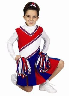 Get Real Gear Red, White and Blue Jr. Cheerleader Outfit with matching Pom Poms, Size 2/3 Clothing