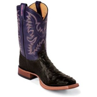 Tony Lama Men's Full Quill Ostrich Cowboy Boot Square Toe Shoes