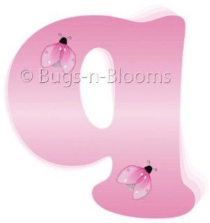 """q"" Pink Ladybug Alphabet Letter Name Wall Sticker   Decal Letters for Children's, Nursery & Baby's Room Decor, Baby Name Wall Letters, Girls Bedroom Wall Letter Decorations, Child's Names. Ladybugs Lady Bug Mural Walls Decals Bab"
