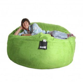 6' Lime Green Foam Beanbag Chair Giant Round SLACKER sack Microsuede Cover XL   Bean Bag Chairs