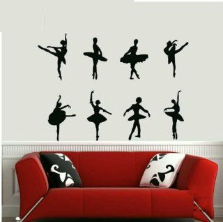 Dancer Ballet 8 Beauty Wall Decal Sticker Living Room Stickers Vinyl Removable Wide 100 Cm High 135cm Black Color