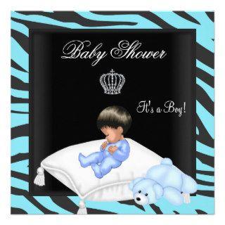Zebra Baby Shower Boy Blue Black Crown Prince Invitations