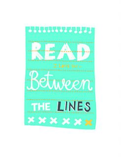 'read between the lines' screen print by mary fellows