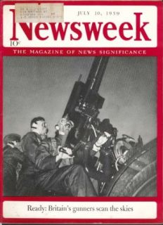 NEWSWEEK Britain War Mussolini Hitler Nazi Storm Troopers Stalin 7/10 1939 Entertainment Collectibles