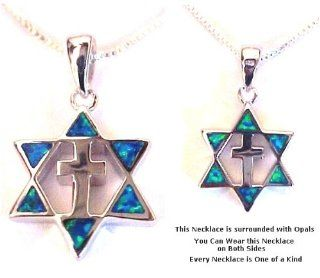 Silver Plate Star & Cross Necklace Women's Men's Spiritual Religious Holy Land Jewelry Jewelry