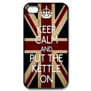 PC Beauty Keep Calm And Put The Kettle On Black Print Hard Shell Cover Case for iPhone 4/4S: Cell Phones & Accessories