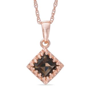 0mm Princess Cut Smoky Quartz Crown Pendant in Sterling Silver with