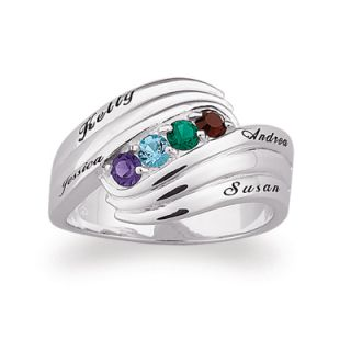 Sterling Silver Family Birthstone Swirl Ring (2 6 Stones & Names