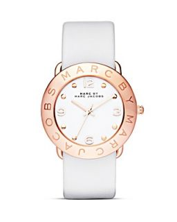 MARC BY MARC JACOBS Amy Rose Gold & White Leather Strap Watch, 36mm's