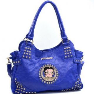 Betty Boop Hobo Bag with Etched Monogram Design and Rhinestones   Blue: Clothing