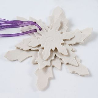 set of three snowflake tree decorations by julie miles ceramics