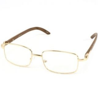 Classic Designer Clear Fake Nerd Eye Glasses Gold Metal: Clothing