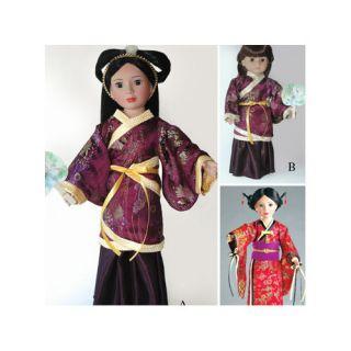 Carpatina Clothes Pattern Doll Hanfu Chinese Dress and Japanese Kimono: Dolls & Dollhouses