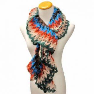 Luxury Divas Blue Orange & Green Multi Color Ruffled Crochet Knit Long Scarf Fashion Scarves