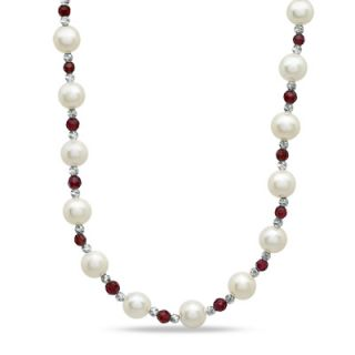 0mm Cultured Freshwater Pearl and Garnet Sparkle Bead Necklace