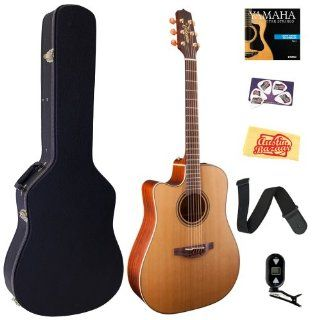 Takamine P3DC LH Pro Series 3 Left Handed Dreadnought Acoustic Electric Guitar Bundle with Hardshell Case, Tuner, Strap, Strings, Picks, and Polishing Cloth   Natural