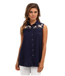 Angie Western Embroidered Trim Shirt Womens Blouse (Navy)