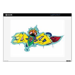 "Crazy Wild Eyed Graffiti Character 15"" Laptop Skin"