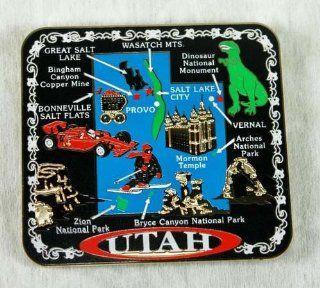 Utah State MAGNET Souvenir Gift Salt Lake City Mormon Temple Zion National Park Arches Bonneville Wasatch Mountains Bryce Canyon Dinosaur Monument Skier Race Car Provo: Kitchen & Dining