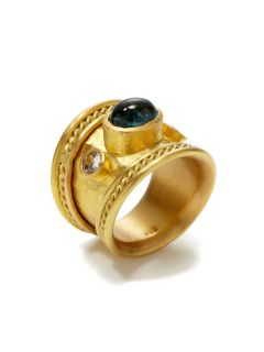 Estate Ca. 1990s Indicolite Tourmaline Graduated Band Ring by Tara Compton