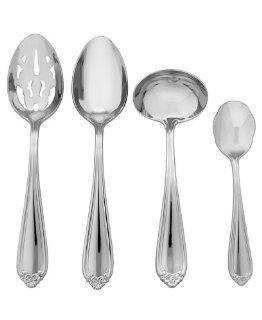 Lenox 4 Piece Bellina Flatware Hostess Set, Silver Bellina Tablespoon Lenox Serving Kitchen & Dining