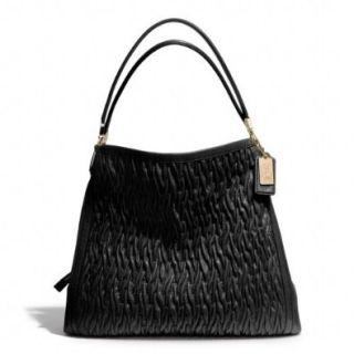 COACH Madison Gathered Twist Leather Phoebe Shoulder Bag in Light Gold / Black 25260 Shoes