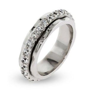 Sterling Silver Spinner Ring with CZ Band: Spinner Rings For Women: Jewelry