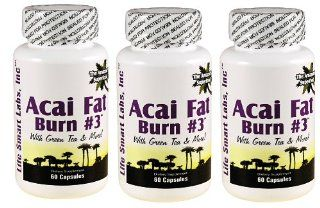 ACAI Fat Burn #3  (3 Bottles) all Pure Diet Pill with Green Tea, Grapefruit, Apple Cider, and more for Weight Loss and fat burning: Health & Personal Care