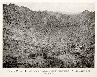 1912 Print Arizona Cabeza Prieta Range Mountains Range Sonoran Desert Arizona   Original Halftone Print